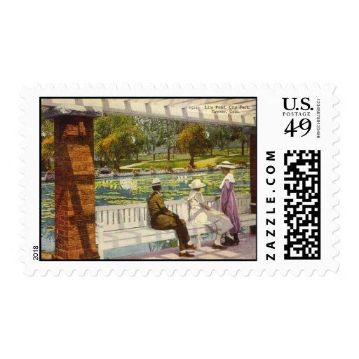 1915 charca del lirio, parque de la ciudad, estampillas