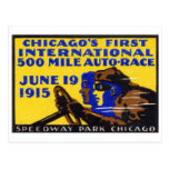 1915 Chicago Auto Racing Poster Postcard