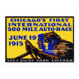 1915 Chicago Auto Racing Poster Postcard