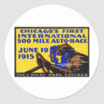1915 Chicago Auto Racing Poster Round Sticker