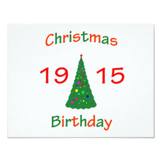 1915 Christmas Birthday 4.25x5.5 Paper Invitation Card