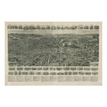 1915 Fitchburg, MA Birds Eye View Panoramic Map Posters
