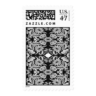 1915 floral & bird black postage