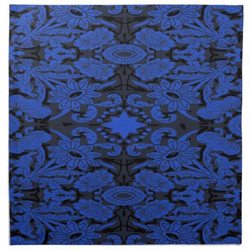 1915 florales y azul del pájaro servilleta imprimida