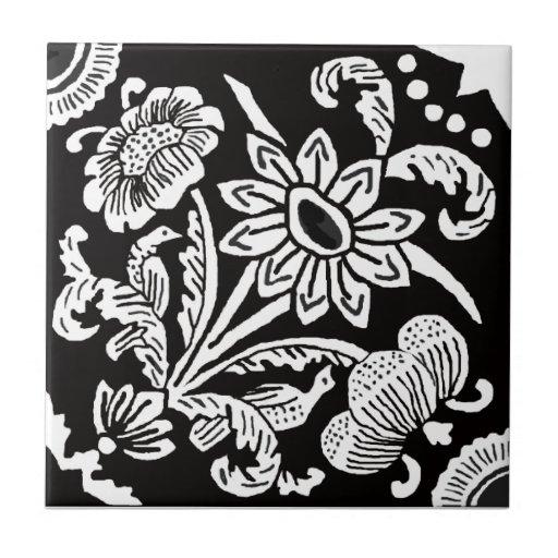 1915 florales y pájaro azulejo cerámica