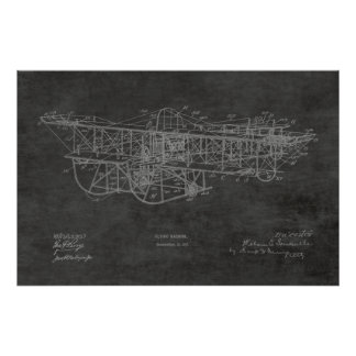 1915 Flying Machine Airplane Patent Drawing Print