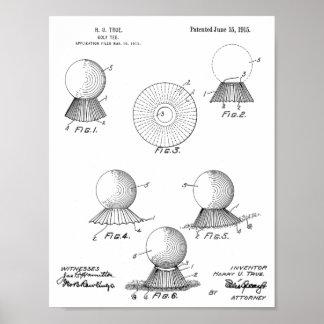 1915 Golf Ball Tee Design Patent Art Print