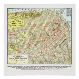 1915 Map of San Francisco - Poster