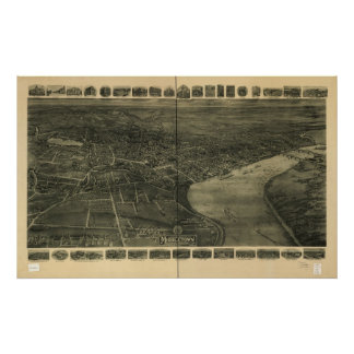 1915 Middletown CT Birds Eye View Panoramic Map Poster