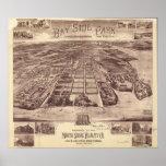 1915 Queens del parque de Bayside, mapa panorámico Póster