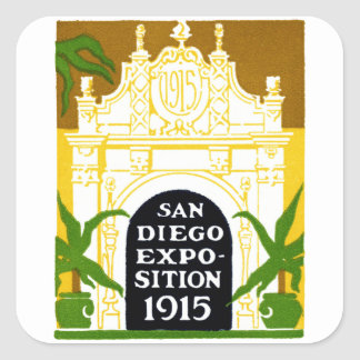1915 San Diego Exposition Square Sticker