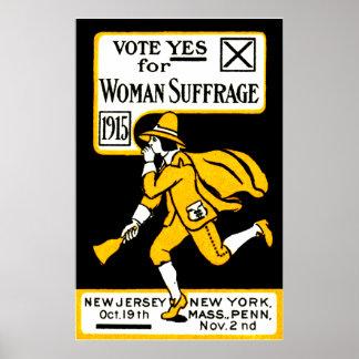¡1915 sí! Poster para mujer del sufragio