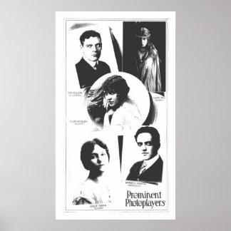 1915 Silent film stars poster vintage art