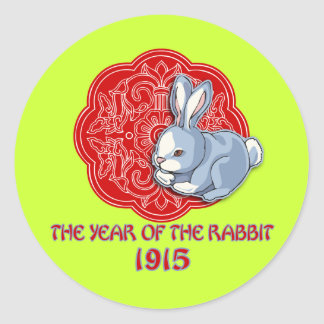 1915 The Year of the Rabbit Gifts Round Stickers