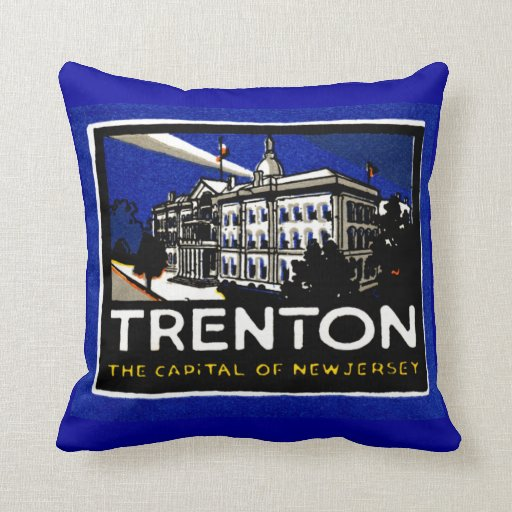 1915 Vintage Trenton NJ Pillow