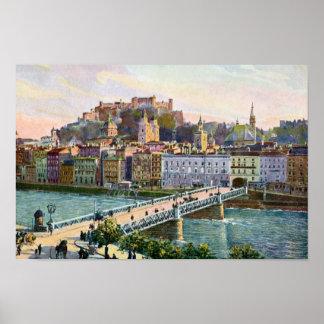 1916 Aquarelle Salzburg State Bridge Poster