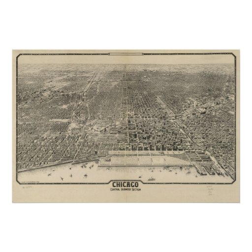 1916 Chicago, IL Birds Eye View Panoramic Map Posters