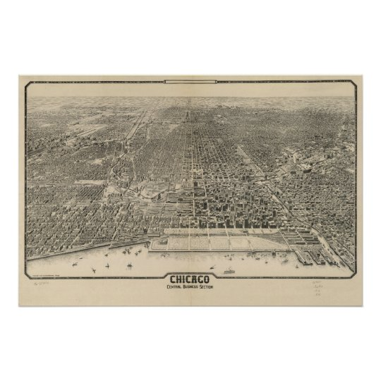 1916 Chicago, IL Birds Eye View Panoramic Map Poster