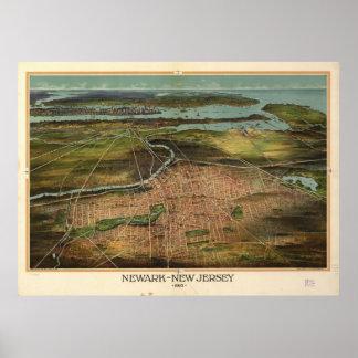1916 Newark, mapa panorámico de la opinión de ojo  Posters