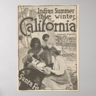 1916 Travel to California Santa Fe RR Poster