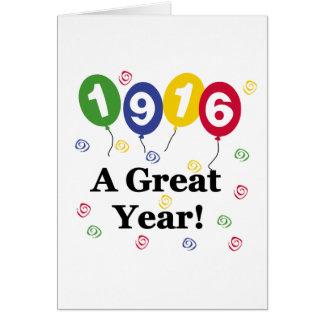 1916 un cumpleaños del gran año tarjeta de felicitación