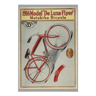 1916 Vintage Red Bicycle Magazine Ad Art Print