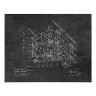 1917 Flying Machine Airplane Patent Art Drawing Poster