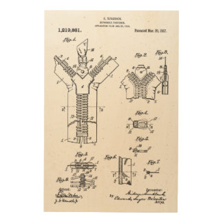 """1917 Patent of the """"Separable Fastener"""" Zipper Wood Wall Art"""