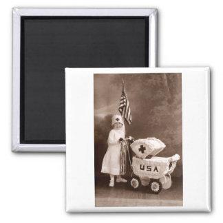 1917 Patriotic Nurse 2 Inch Square Magnet