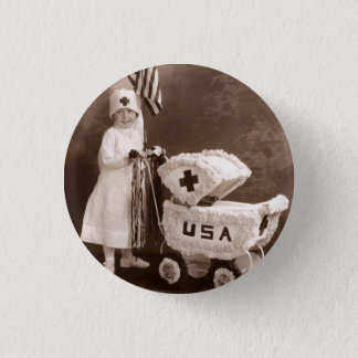 1917 Patriotic Nurse Button