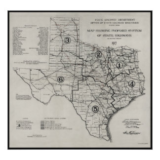 1917 TEXAS STATE HWY MAP POSTER