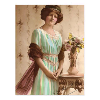 1917 Victorian Lady with Vase Postcard