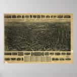 1917 Waterbury CT Birds Eye View Panoramic Map Posters
