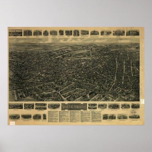 1917 Waterbury CT Birds Eye View Panoramic Map Poster