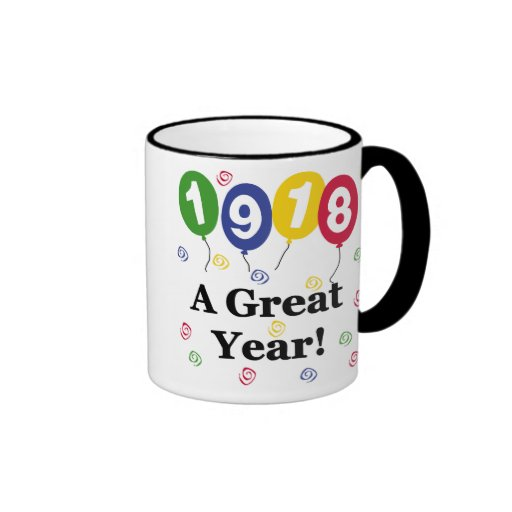 1918 A Great Year Birthday Ringer Coffee Mug