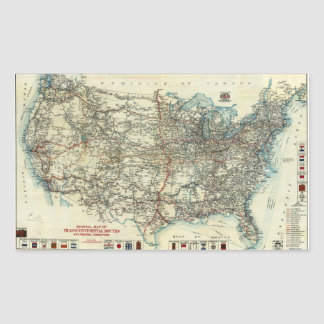 1918 AAA General Map of Transcontinental Routes Rectangular Sticker