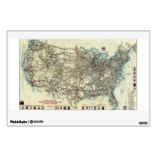 1918 AAA General Map of Transcontinental Routes Wall Decal