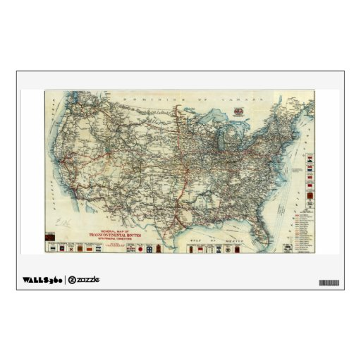 1918 AAA General Map of Transcontinental Routes Wall Graphics