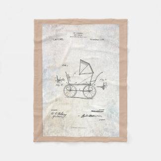 1918 Baby Carriage Patent Fleece Blanket