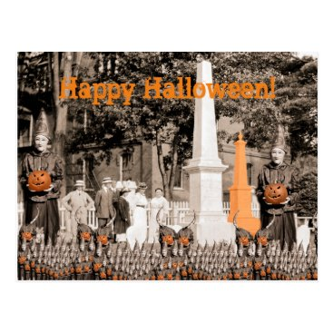 Halloween Themed 1918 Cemetery Photo Halloween Witches Pumpkin Postcard