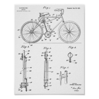 1918 Chainless Bicycle Design Patent Art Print