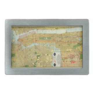 1918 New York Central Railroad Map Rectangular Belt Buckle