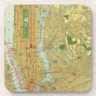 1918 New York Central Railroad Map Drink Coaster