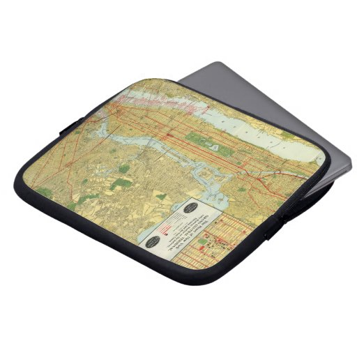1918 New York Central Railroad Map Laptop Computer Sleeve