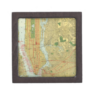 1918 New York Central Railroad Map Premium Keepsake Boxes