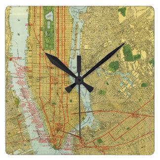 1918 New York Central Railroad Map Square Wall Clock