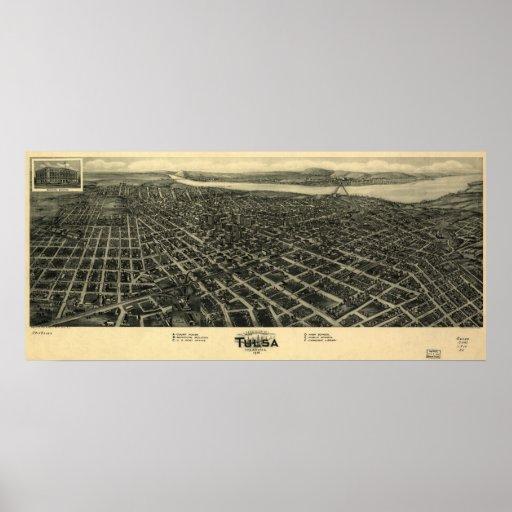 1918 Tulsa, mapa panorámico ACEPTABLE de la opinió Posters