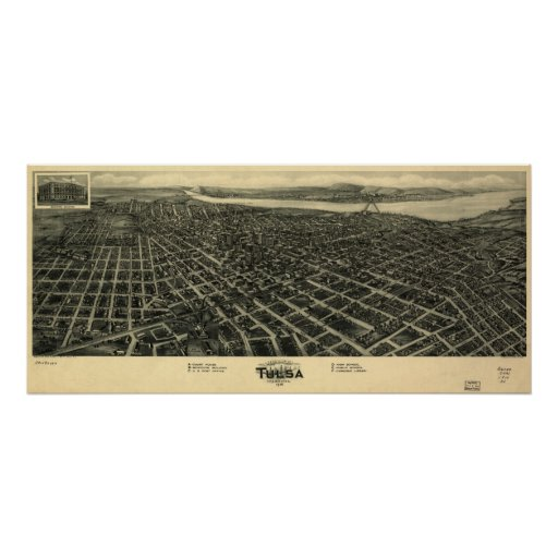 1918 Tulsa, mapa panorámico ACEPTABLE de la opinió Póster