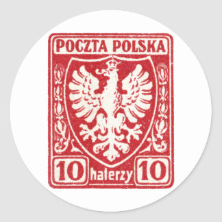 1919 10h Polish Eagle Stamp Classic Round Sticker