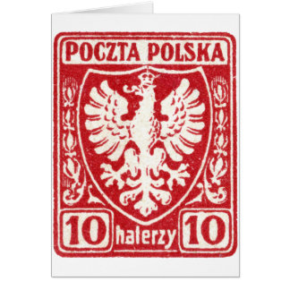 1919 10h Polish Eagle Stamp Greeting Card